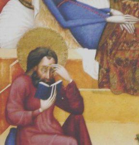Istuv apostel, kellel on prillid lugemisasendis.